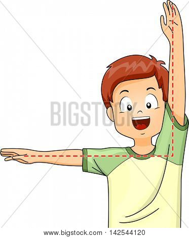 Illustration of a Little Boy Gesturing a Right Angle