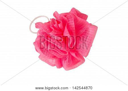 sponge with handle pink isolated, on a white background