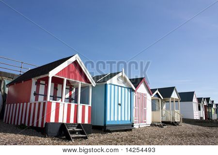 Thorpe Bay beach huts, southend, essex, uk