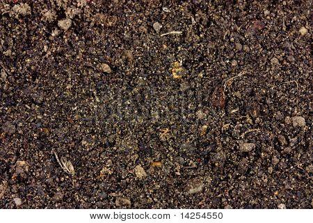 background of fine fertiliser type soil macro shot