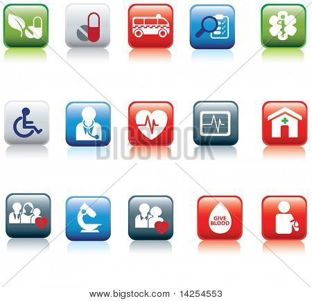medical and hospital icon and web coloured buttons