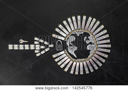 Internet SFP network modules  as the shape of Earth and  arrow, padlock and key on the black background.Concept of internet security/computer data encryption / data protection / security enhancement