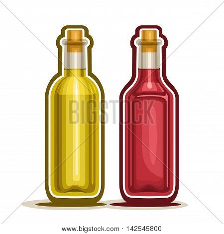 Vector logo Red and Yellow Wine Bottles, container rose alcohol drink with wooden cork, glass bottle fruit apple vinegar and berry white grape juice, isolated on white background, fresh olive oil.