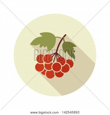 Rowan branch flat icon. Berry fruit. Vector illustration eps 10
