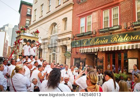 Boston Massachusetts USA 07 August 2016: Feast in honor of Saint Agrippina in Boston Usa