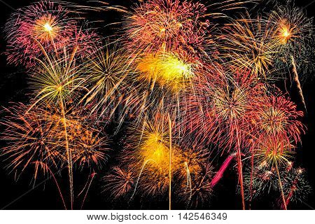 Isolated set of fireworks on black background with clipping path
