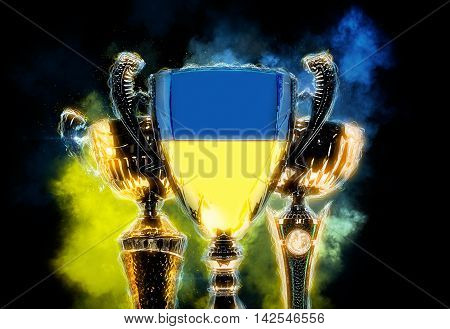 Trophy cup textured with flag of Ukraine. 2D Digital illustration.