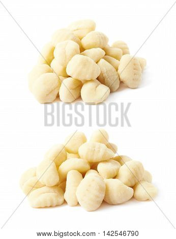 Pile of gnocchi dough dumplings isolated over the white background