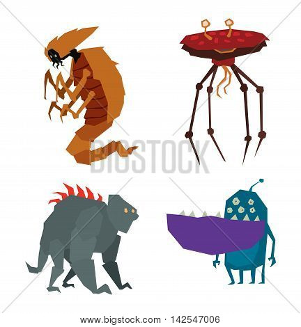 Cartoon alien monster graphic mutant character. Colorful toy cute alien monster cute cartoon creature funny animal. Vector alien monster happy ugly comic cool character.