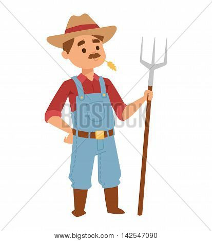 Happy smiling caucasian old farmer standing proud wheat fields. Farmer man mustache wearing hat holding rake in his hand. Organic occupation countryside, standing adult farmer man