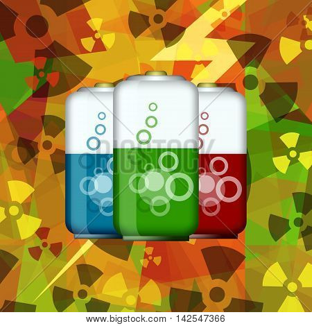 Fantastic electric batteries on atomic energy power background