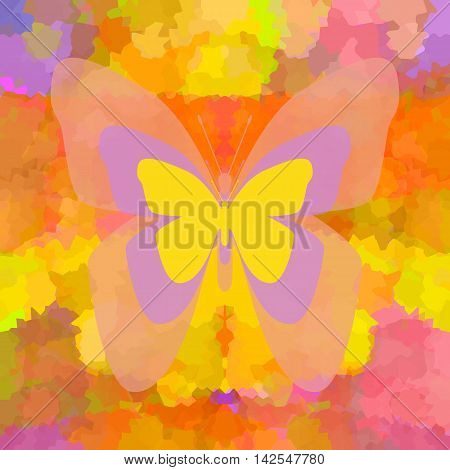 Butterfly with transparent wings on bright colorful background