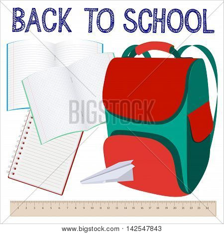 Modern school background with knapsack, copybook and ruler. Back to school. Vector illustration