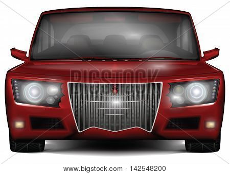 Red concept car. No trademark. Front view. Original design with decorative elements. Vector illustration isolated on white background.