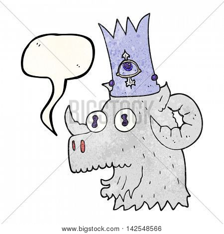 freehand speech bubble textured cartoon ram head with magical crown