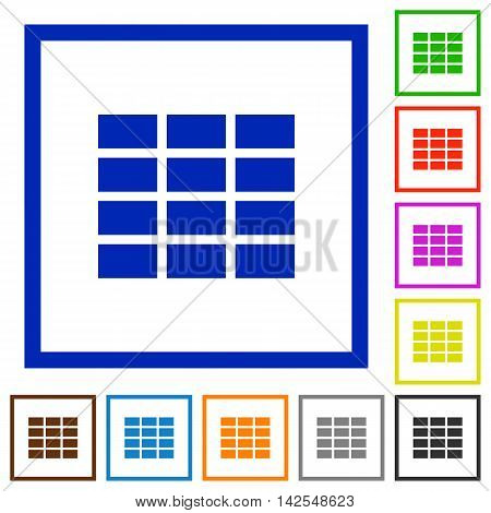 Set of color square framed spreadsheet flat icons