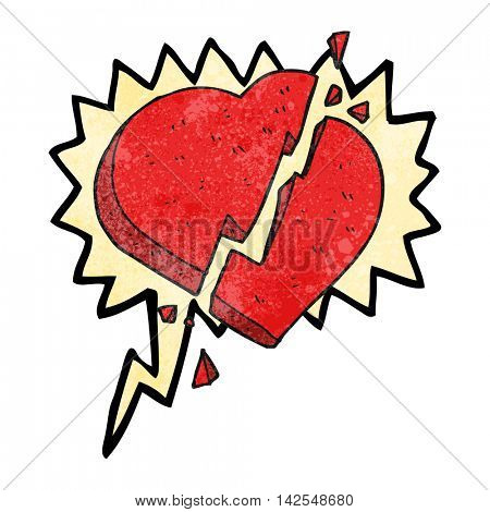 freehand speech bubble textured cartoon broken heart symbol