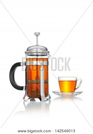 close up view of french press and a cup of black tea on white background