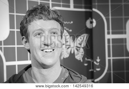 BANGKOK THAILAND - DECEMBER 19: Wax figure of the famous Mark Zuckerberg from Madame Tussauds on December 19 2015 in Bangkok Thailand. Black and white Photo.