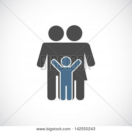 man and woman with child - family concept icon