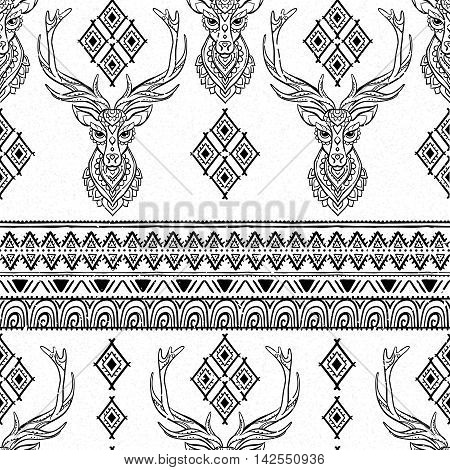 Ornament deer vector pattern. Beautiful illustration for design, print clothing, stickers, tattoos, Adult Coloring book.