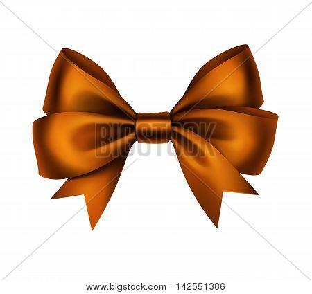 Vector Shiny Orange Satin Gift Bow Close up Isolated on White Background