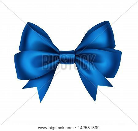 Vector Shiny Blue Satin Gift Bow Close up Isolated on White Background