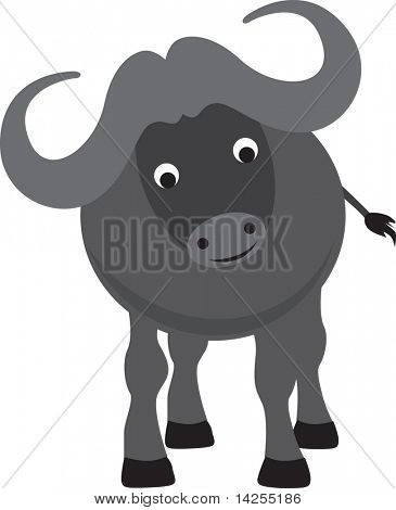 buffalo modern color cartoon character on white background