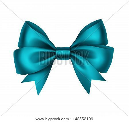 Vector Shiny Turquoise Satin Gift Bow Close up Isolated on White Background