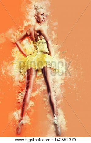 Beautiful ballerina in yellow tutu on point. Digital art