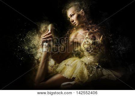 Ballerina in a yellow tutu. Digital art