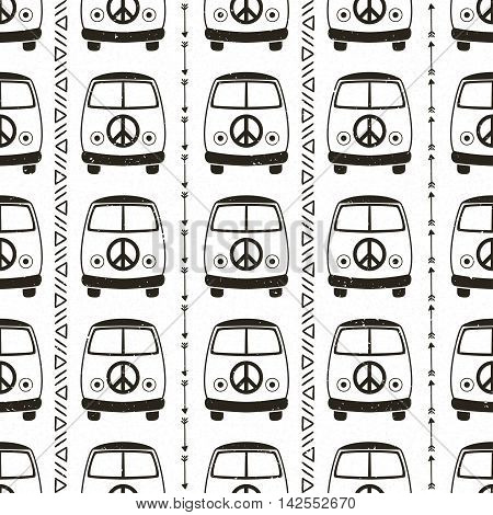 Hippie vintage car a mini van. Hippy color vector illustration. Retro 1960s, 60s, 70s