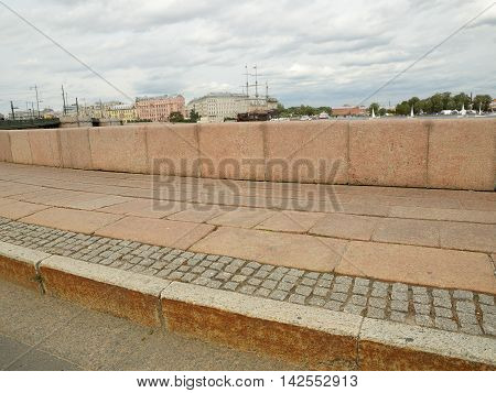 Saint-Petersburg.The embankment of the Neva river paved with granite throughout the city.