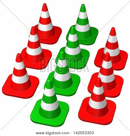 Traffic cones isolated on white background. 3D rendering.