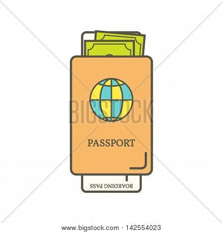 Passport and boarding pass ticket. Isolated on a white background. Vector illustration. Travel and tourism Icon.