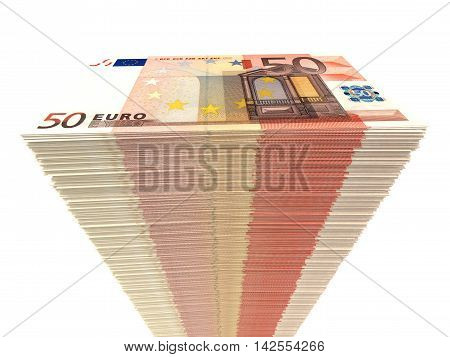 Stack Of Banknotes. Fifty Euros.