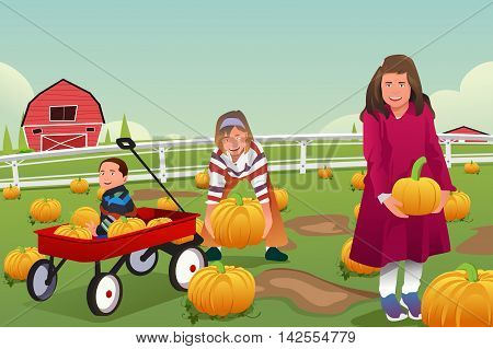 A vector illustration of kids on a pumpkin patch trip in autumn or fall season