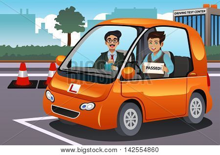 A vector illustration of teenager driver passes driving test and holding his driver's license