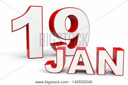 January 19. 3D Text On White Background.