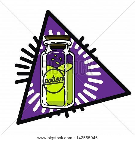 Color vintage Religion, philosophy, spirituality, occultism, chemistry, science magic esoteric emblem Vector illustration EPS 10