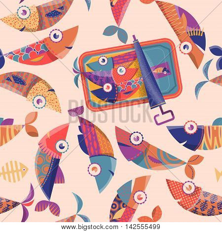 Can of sardines and multi-colored decorated fishes. Seamless background pattern. Vector illustration