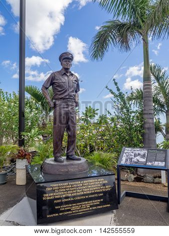 OAHU, HI - AUG 5, 2016: Stature of Admiral Nimitz at the USS Missouri on August 5, 2016 in Pearl Harbor, USA. Site of the treaty signing ending WWII between the US and Japan, is now berthed in Pearl Harbor Hawaii.