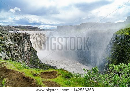 View of Dettifoss a waterfall in Vatnajokull National Park at the Northeast of Iceland