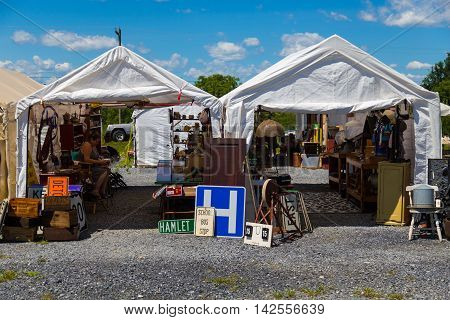 Adamstown PA - August 7 2016: An outdoor Antique Market in northern Lancaster County on weekends attracts visitors to the Antiques Capital USA.