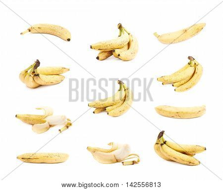 Multiple spotted banana compositions isolated over the white background, set of multiple different foreshortenings