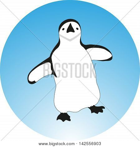 Black and white cartoon sketch illustration of penguin