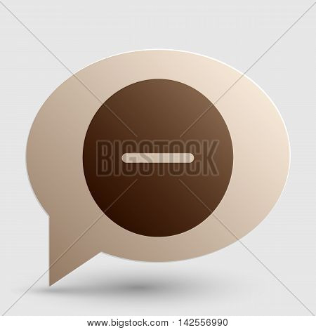 Negative symbol illustration. Minus sign. Brown gradient icon on bubble with shadow.