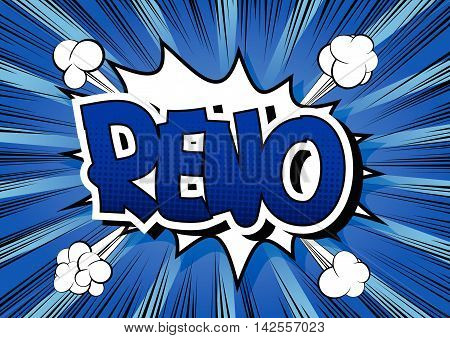 Reno - Comic book style word on comic book abstract background.