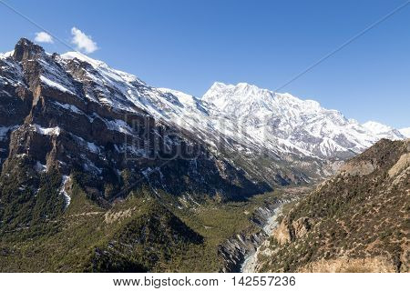 Mountain landscape with snow capped moutains on the Annapurna Circuit in Nepal