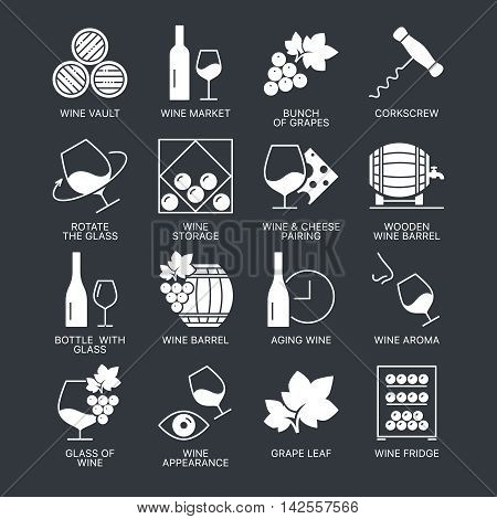 Wine icons set isolated on dark background. Web graphics symbol collection.